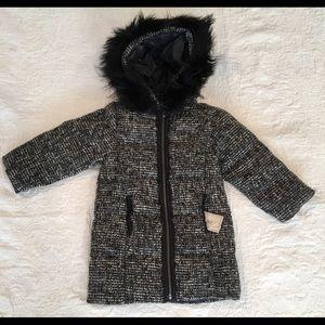 NWT*LILI GAUFRETTE***Reversible Tweed Black Coat